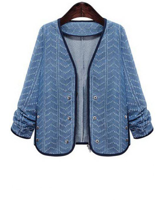 shops Zig Zag V Neck Long Sleeve Denim Coat - LIGHT BLUE S