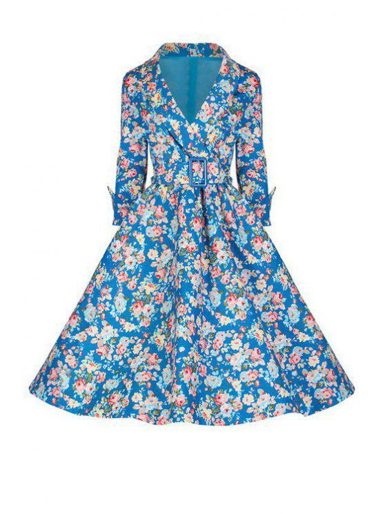 shops 3/4 Sleeve Tiny Flower Print Dress - BLUE S