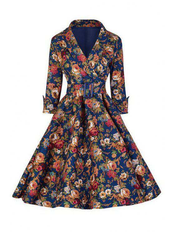 fancy Floral Print Ball Gown Dress - DEEP BLUE S