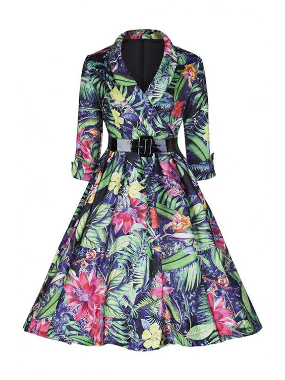 best Large Floral Print Ball Gown Dress - COLORMIX XL