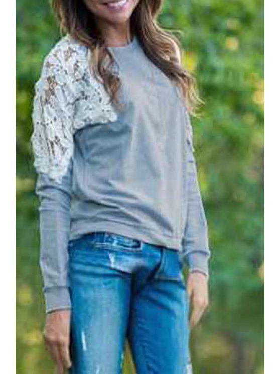 shop Lace Patchwork T-Shirt - GRAY S