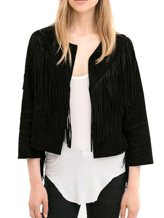 ladies Open Front Tassels Jacket - BLACK S