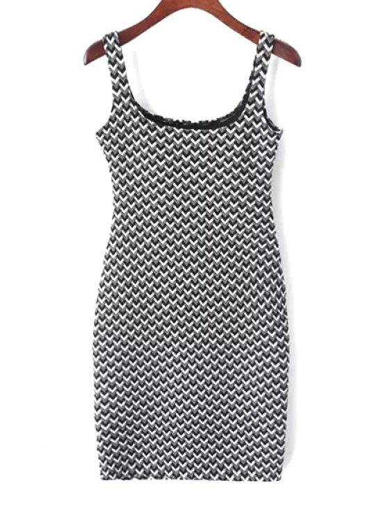 women's Suspender Jacquard Checked Dress - WHITE AND BLACK M
