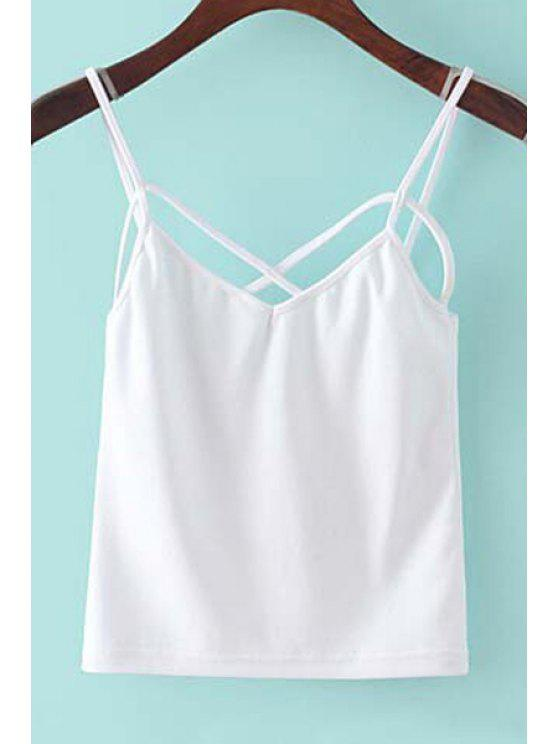 latest Wrapped Chest Solid Color Spaghetti Straps Tank Top - WHITE S