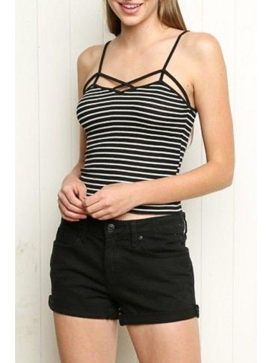 buy Solid Color Wrapped Chest Spaghetti Straps Tank Top - WHITE AND BLACK S
