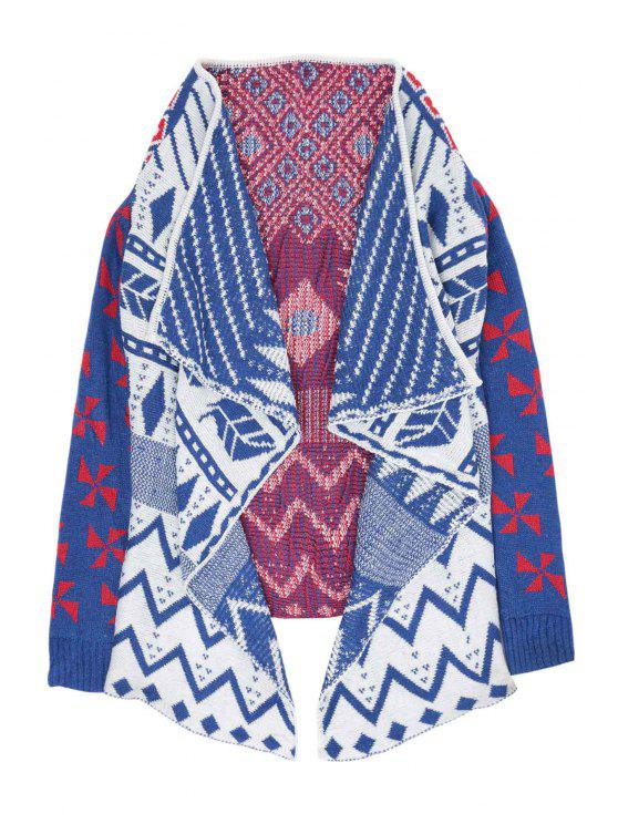 buy Golilla Argyle Pattern Zig Zag Long Sleeve Cardigan - CADETBLUE ONE SIZE(FIT SIZE XS TO M)