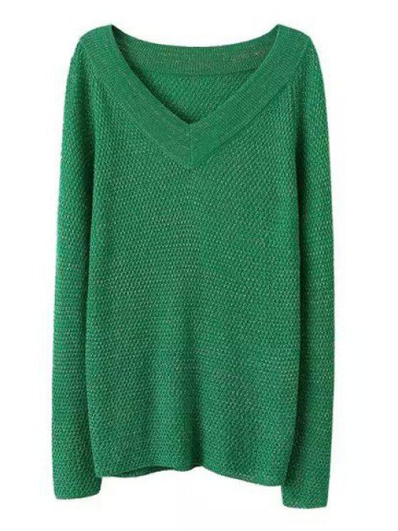 fashion Loose Fitting V-Neck Long Sleeves Pullover Sweater - GREEN ONE SIZE(FIT SIZE XS TO M)