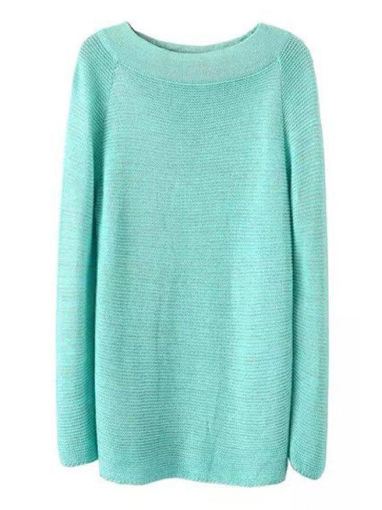 chic Loose Fitting Round Neck Long Sleeves Pullover Sweater - BLUE ONE SIZE(FIT SIZE XS TO M)