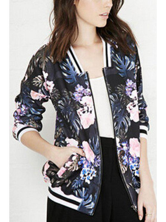fancy Floral Print Stand Neck Baseball Jacket - BLACK S