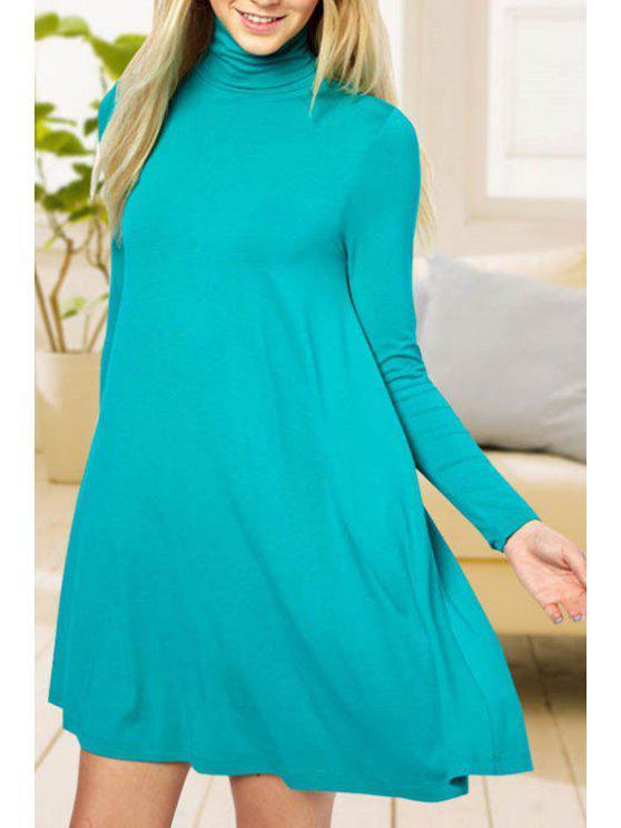 unique Solid Color Turtle Neck Long Sleeve Dress - LAKE BLUE M