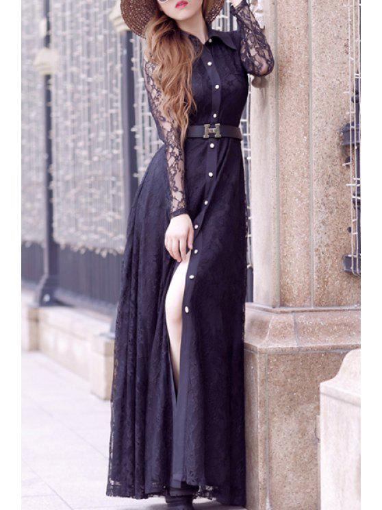 sale Lace Turn Down Collar Long Sleeve Maxi Dress - BLACK M