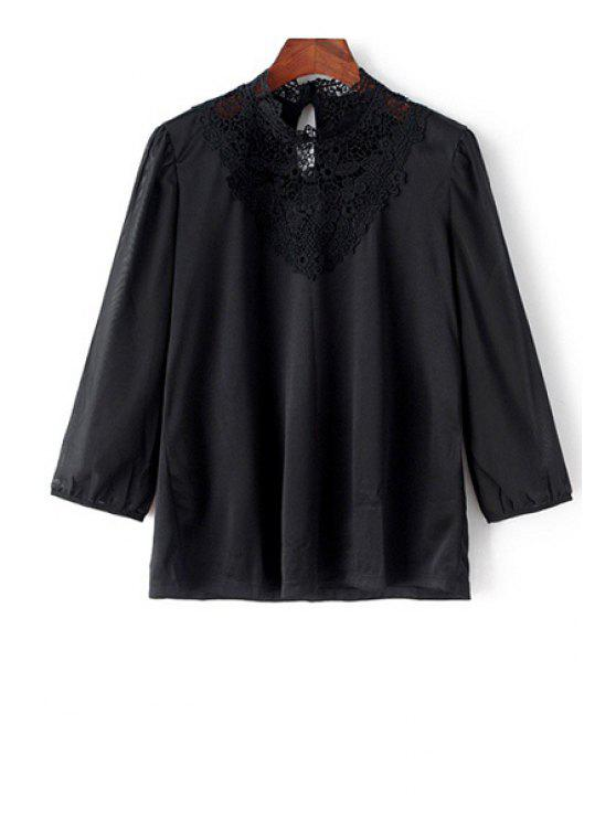 new Lace Splicing Long Sleeves Solid Color Blouse - BLACK S
