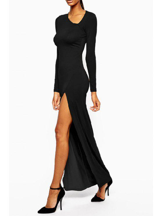 women's Solid Color Long Sleeve Bodycon Maxi Dress - BLACK M