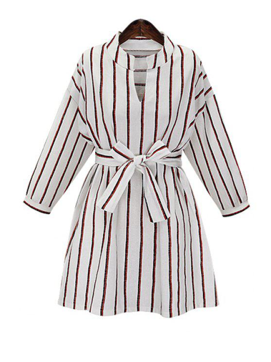 unique Striped V Neck Long Sleeve Dress - WHITE XL
