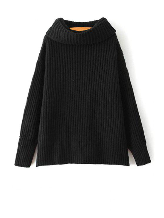 lady Loose Fitting Turtle Neck Solid Color Pullover Sweater - BLACK ONE SIZE(FIT SIZE XS TO M)