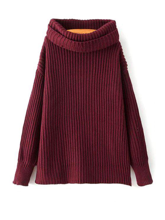 Suéter de encaje suelto de la correa de la tortuga suéter del color sólido - Vino Rojo Un tamaño(Montar tam