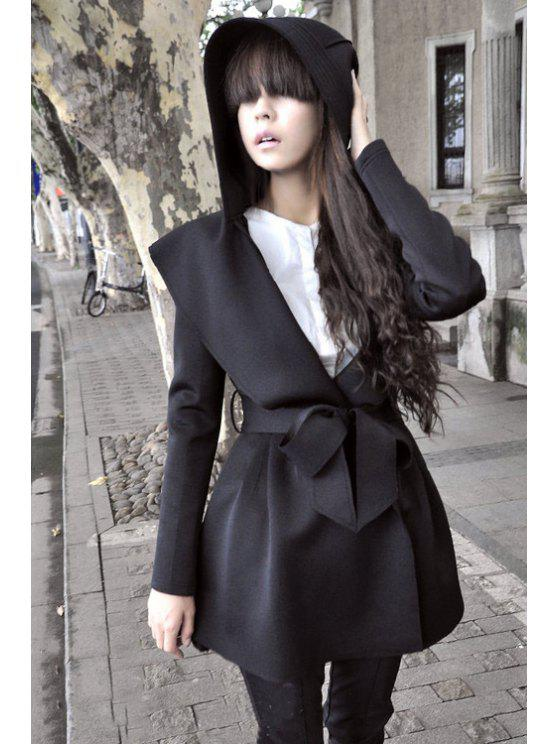 lady Pure Color Long Sleeve Hooded Trench Coat - BLACK M