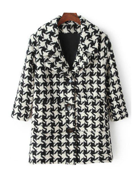 fashion Houndstooth Turn-Down Collar Long Sleeves Woolen Coat - WHITE AND BLACK S