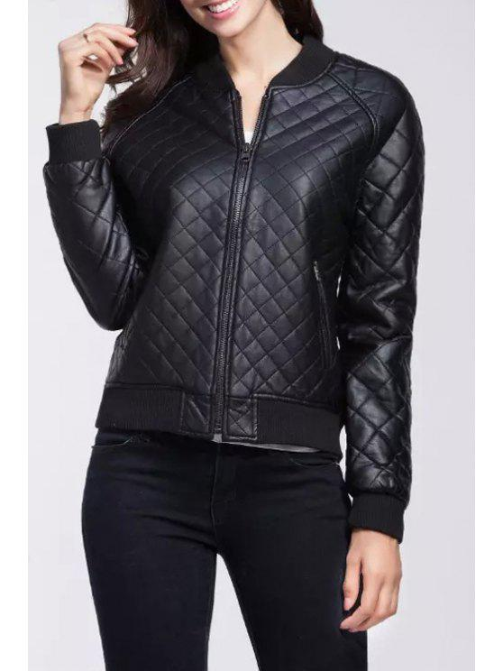 sale Black Stand Collar Short Faux Leather Jacket - BLACK S