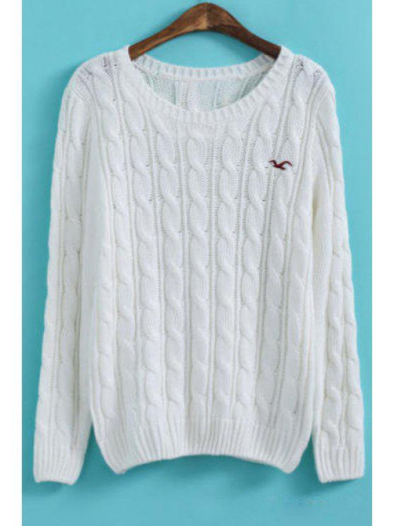 unique Solid Color Round Collar Braided Pullover Sweater - WHITE M