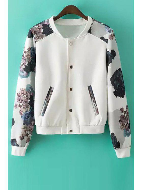womens Printed Round Collar Long Sleeves Baseball Jacket - WHITE S