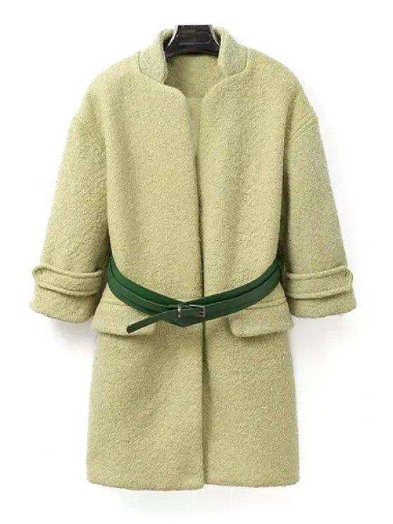 affordable Solid Collar Stand Collar Long Sleeves Coat - PEA GREEN S