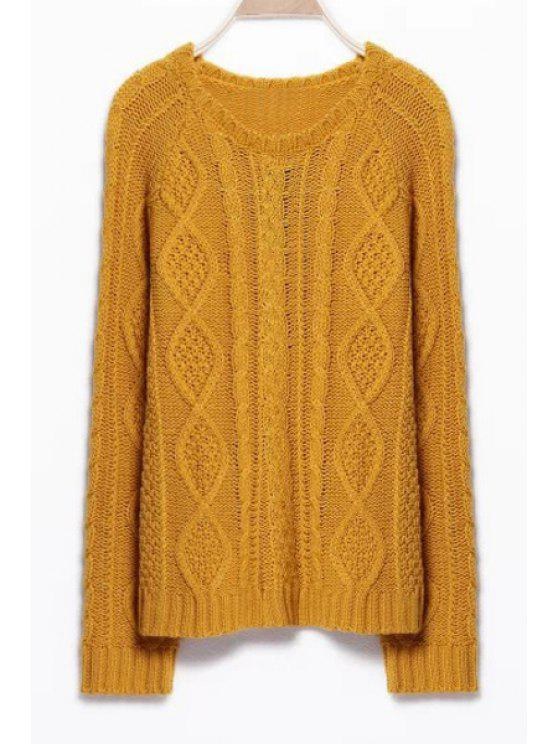 ladies Braided Round Collar Solid Color Pullover Sweater - GINGER S
