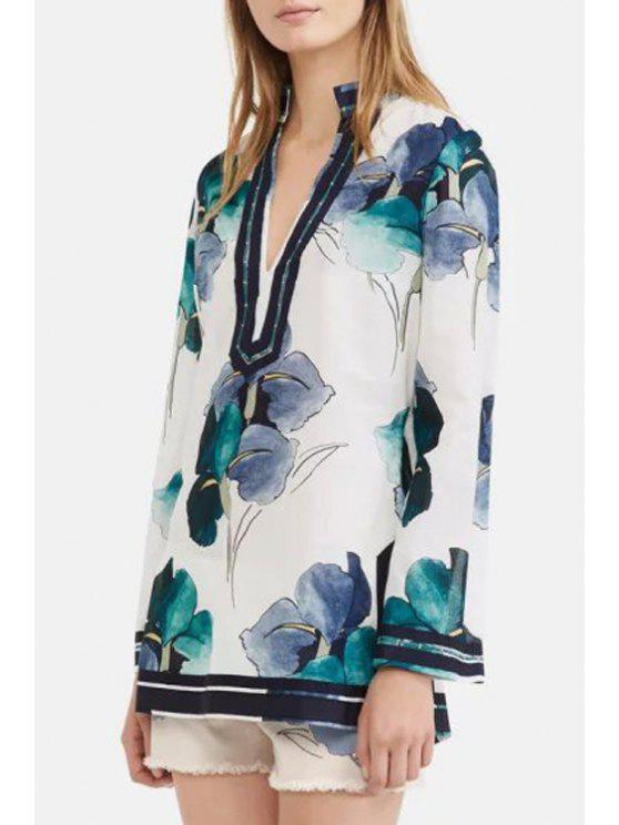 womens Ink Floral Stand Neck Long Sleeve Blouse - AS THE PICTURE S