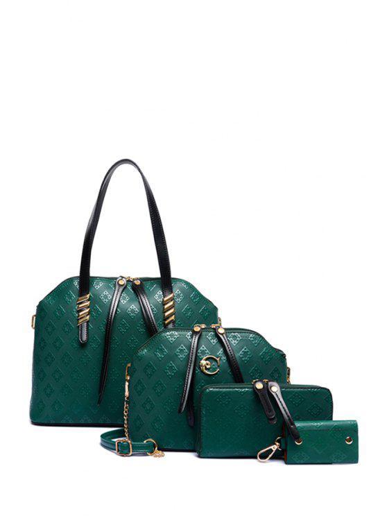 chic Argyle Embossing Tassel Shoulder Bag - GREEN
