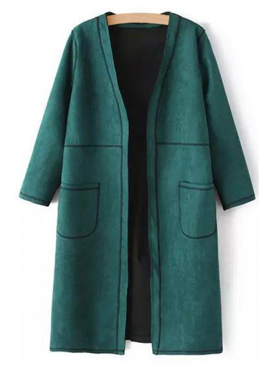 hot Pure Color V Neck 3/4 Sleeve Coat - BLACKISH GREEN L