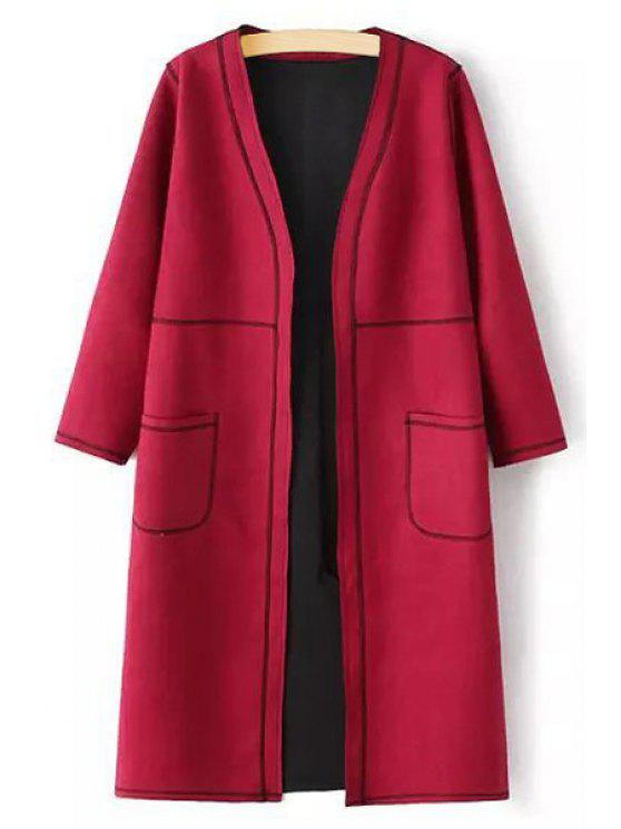 shop Pure Color V Neck 3/4 Sleeve Coat - RED L
