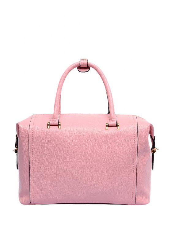 outfits Solid Color Rivets Zipper Tote Bag - PINK