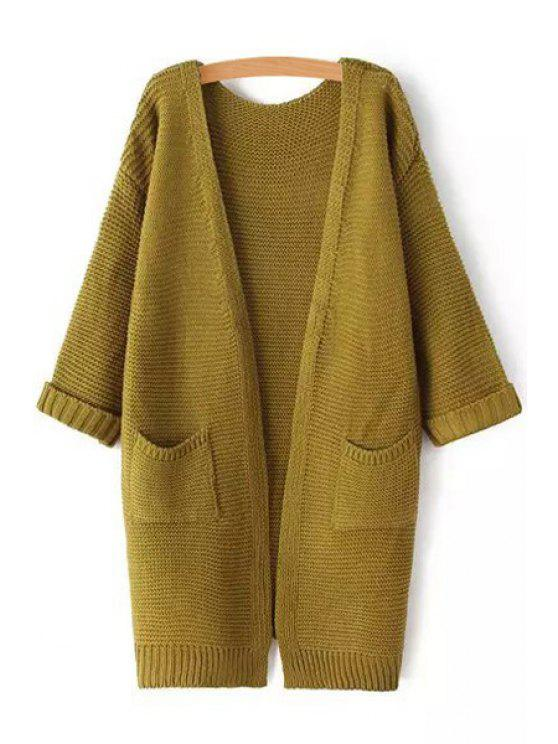 fashion Pure Color 3/4 Sleeve Cardigan - ARMY GREEN ONE SIZE(FIT SIZE XS TO M)