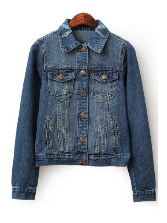 fashion Ripped Denim Turn-Down Collar Long Sleeves Jacket - DEEP BLUE S