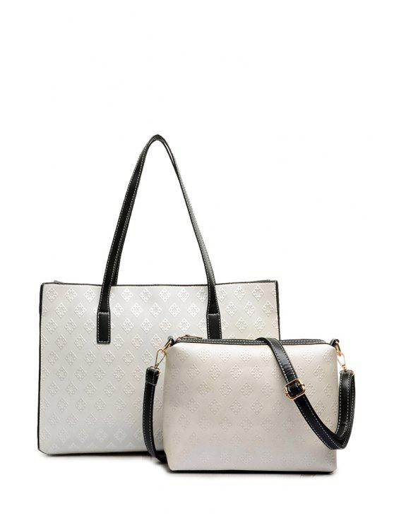 affordable Color Block Embossing Argyle Shoulder Bag - WHITE
