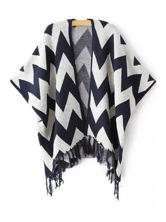fancy Zig Zag Pattern Half Sleeve Cardigan - PURPLISH BLUE ONE SIZE(FIT SIZE XS TO M)