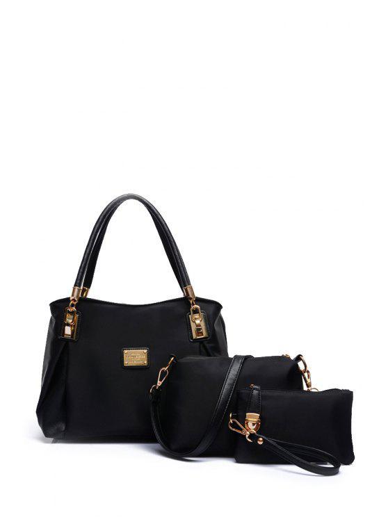 ladies Nylon Metal Solid Color Shoulder Bag - BLACK