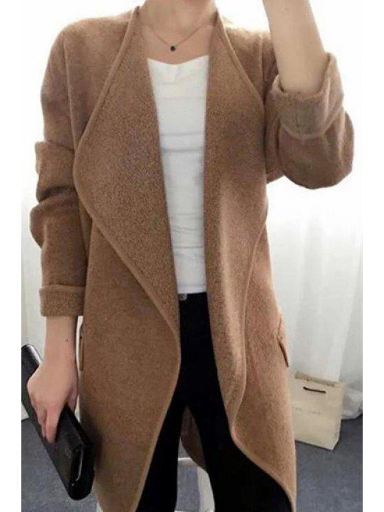 women's Pure Color Collarless Long Sleeves Thin Cardigan - BROWN ONE SIZE(FIT SIZE XS TO M)