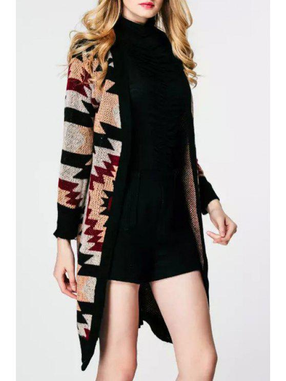 sale Geometric Pattern V Neck Long Sleeve Cardigan - AS THE PICTURE ONE SIZE(FIT SIZE XS TO M)