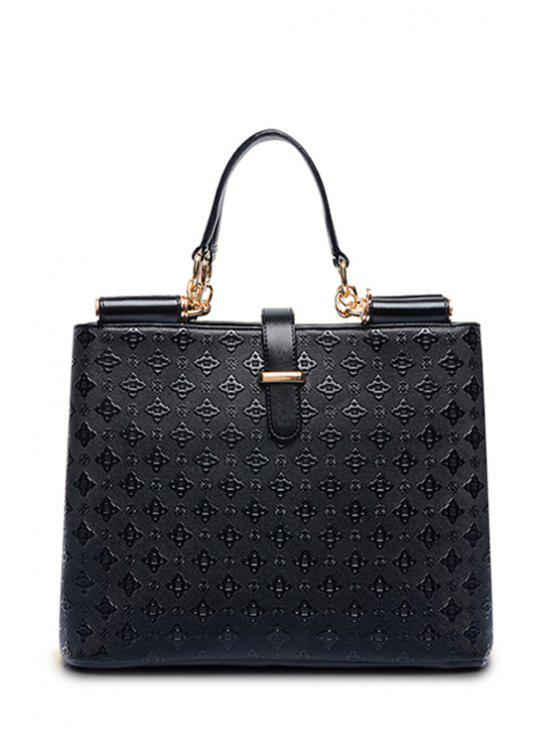 trendy Embossing Argyle Rivets Tote Bag - BLACK