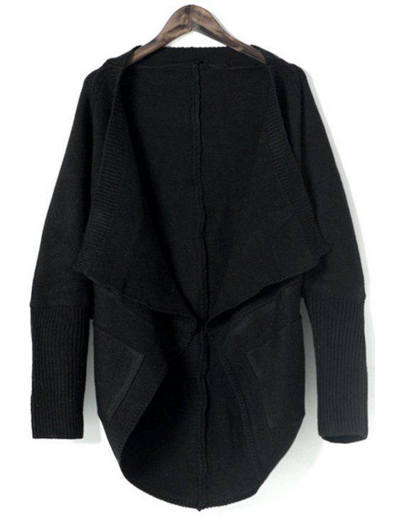 best Pure Color Turn Down Collar Long Sleeves Cardigan - BLACK ONE SIZE(FIT SIZE XS TO M)