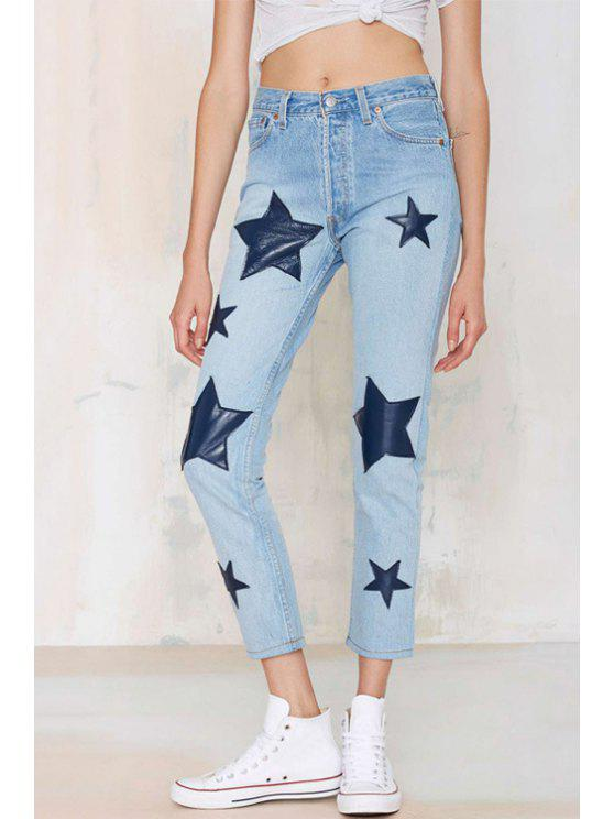 outfit Star Appliqued Ninth Jeans - LIGHT BLUE XS