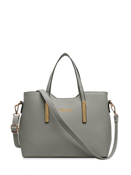 women Solid Color Letter Print Metal Tote Bag - LIGHT GRAY