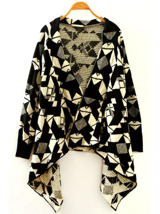 hot Geometric Pattern V Neck Long Sleeves Cardigan - BLACK ONE SIZE(FIT SIZE XS TO M)