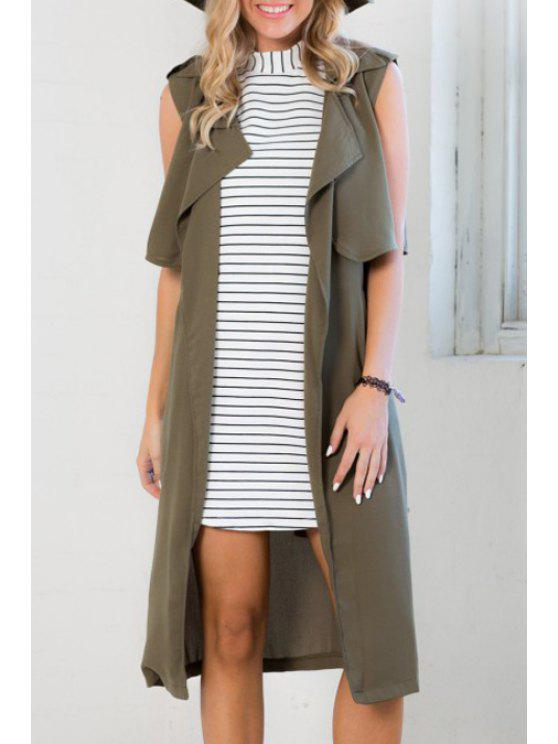 online Army Green Turn Down Collar Sleeveless Coat - ARMY GREEN S