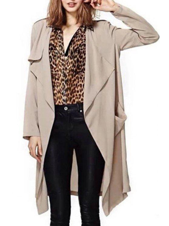 shops Pure Color Turn Down Collar Trench Coat - KHAKI S