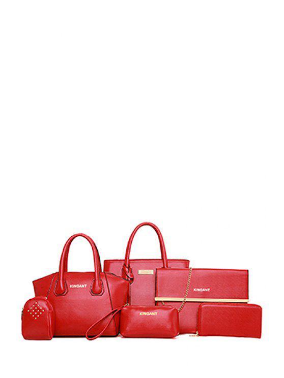 outfit Pendant Rivets Metal Shoulder Bag - WINE RED