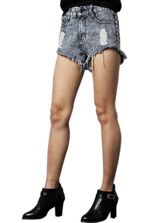 women's Rivet Straight Leg Denim Shorts - DEEP BLUE 32