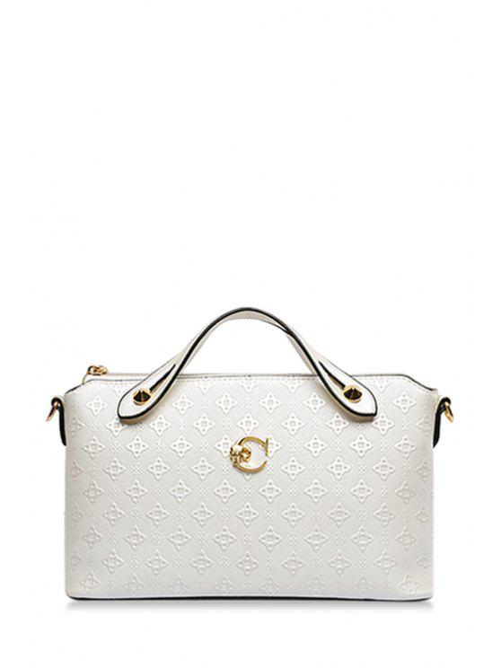 fashion Embossing Argyle Metal Crossbody Bag - WHITE