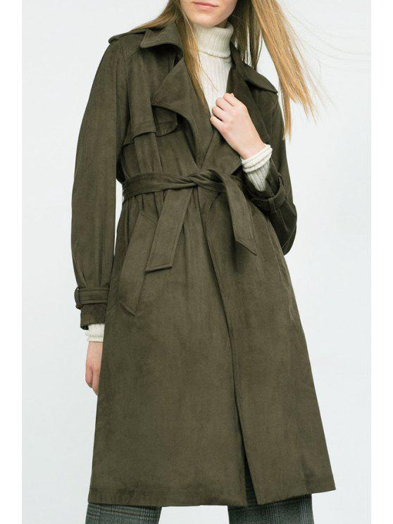 chic Solid Color Epaulet Lapel Trench Coat - ARMY GREEN S